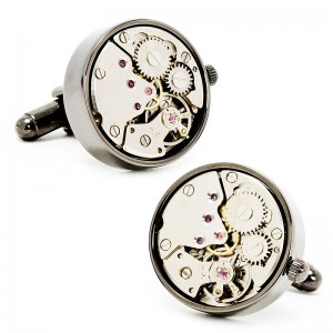 Steampunk Gunmetal Watch Movement Cufflinks