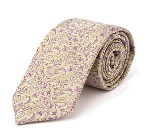 Victorian Purple Script, Italian Silk Neck Tie: Daniel Dolce