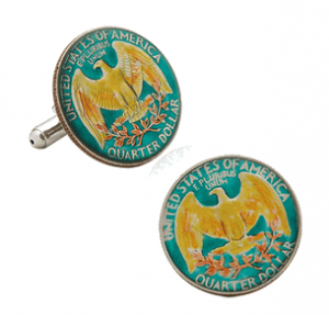 Hand Painted USA Quarter Coin Cufflinks