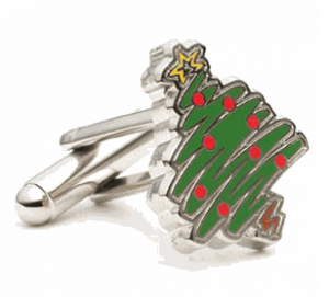 Enamel Christmas Tree Cufflinks
