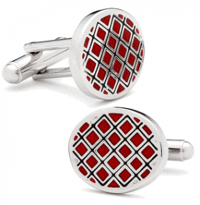 Black and Red Quilted Cufflinks