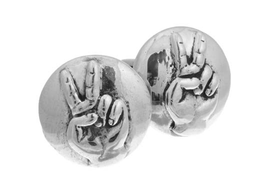 Sterling Silver Peace Sign Cufflinks