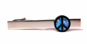Blue Peace Sign, Onyx and Mother of Pearl Tie Bars