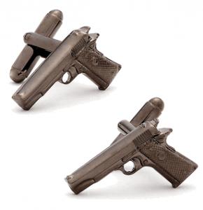 Gunmetal 1911 Colt Gun Cufflinks