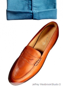Leather loafers ($218) by the Frye Company; cotton moleskin trousers ($1,100) by Salvatore Ferragamo. PHOTOGRAPH BY: JEFFREY WESTBROOK/STUDIO D