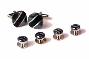 Cufflinks Sets: Daniel Dolce, diagnal stripe with hematite, onyx, and mother of pearl