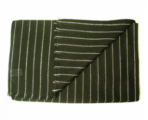 Green Striped Scarf, Wool and Silk, Italian