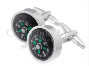 Silver and black Compass Cufflinks