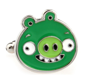 Green Pig Angry Birds Game Cufflinks