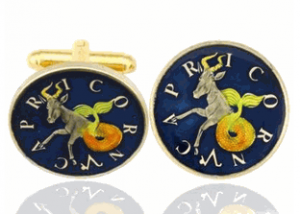Capricorn The Goat, Hand Painted Coin Cufflinks