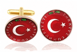 Turkish Flag, Hand Painted Coin