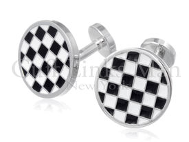 Round Checked 50s Throwback Cufflinks