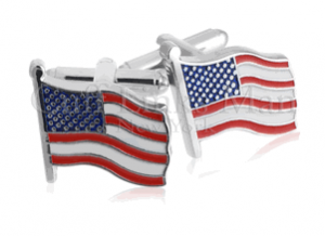 Waving American Flag, Silver Cufflinks