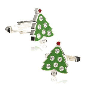 Crystal Christmas Tree Cufflinks