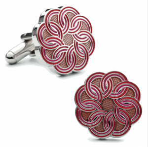 Red Pink Linked Circle Cufflinks