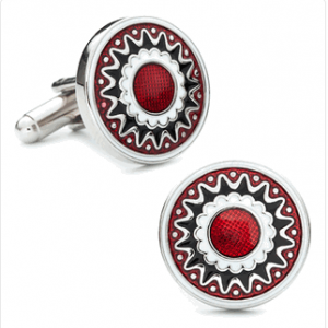 Red Layered Flower Cufflinks
