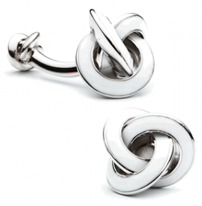 Double Ended White Enamel Knot Cufflinks