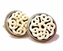Irish Love Knots Cufflinks, Bone, Onyx, and Sterling