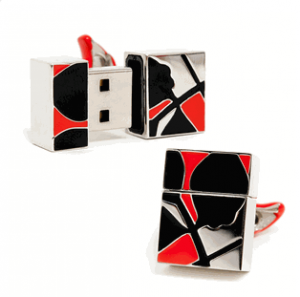 2gb Black Leaf Usb Flash Drive Cufflinks