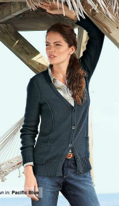Eddie Bauer sweater, Tape Cardigan in Pacific Blue
