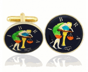 Libra the Scales, Hand Painted Coin Cufflinks