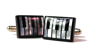 Piano Keys, Onyx and Mother of Pearl Cufflinks
