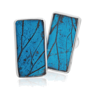 Aymara Blue Forest Rectangle Butterfly Cufflinks