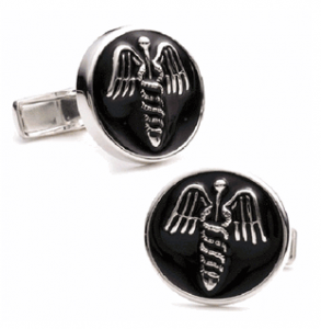 Enamel Medical Caduceus Cufflinks