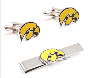 Iowa Hawkeyes Cufflinks and Tie Bar Set