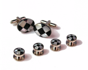 Shimmer Checker Stone and Mother of Pearl Cufflinks