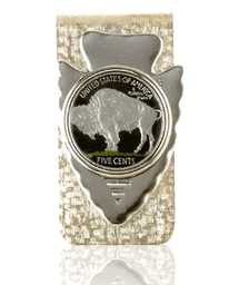 Buffalo Nickel Tail Side Hand Painted Coin, Money Clip