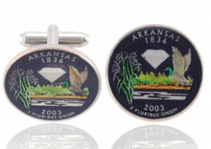 Arkansas Quarter Hand Painted Coin Cufflinks