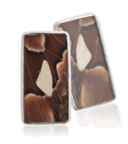 Aymara Brown Sea Rectangle Butterfly Cufflinks