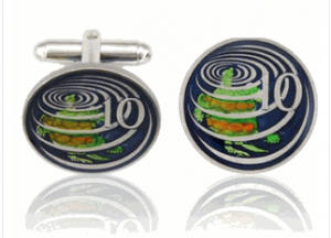 Caymanian Sea Turtle Hand Painted Coin Cufflinks