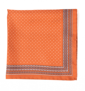 Vintage Orange Italian Silk Pocket Square
