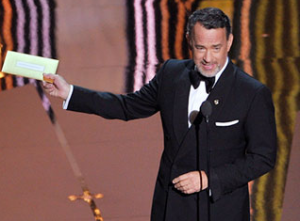 Tom hanks presenting at the 2012 Oscars