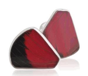 Aymara Convex Ruby Spotted Butterfly Cufflinks