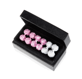 Pink Pearl Silk Knot Cufflink Trio