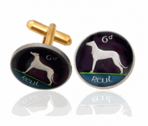 Irish Dog, Hand-Painted Coin Cufflinks