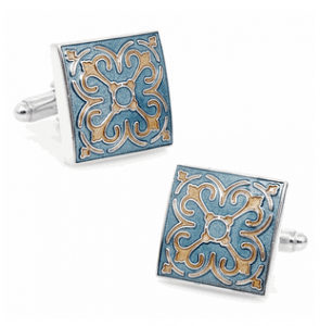 Blue Enamel Tracery Cufflinks