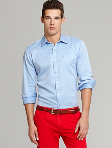 Tommy Hilfiger, Striped Shirt with Red Pants