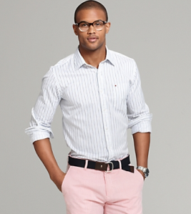 Tommy Hilfiger Blue Shirt with Pink Pants, Spring 2012