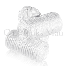 Sheet White Silk Knot Log Cufflinks