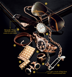 Rose Gold Accessories, Photo by Nigel Cox of GQ Magazine