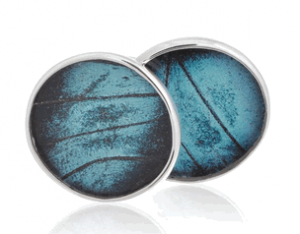 Aymara Blue Gem Circle Butterfly Cufflinks