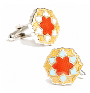 Blue Orange Bloom Cufflinks