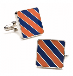 Orange and Blue Striped Cufflinks