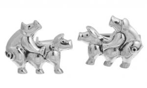 Sterling Silver Pig Copulation Cufflinks