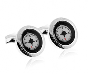 Tateossian Compass Rhodium Cufflinks