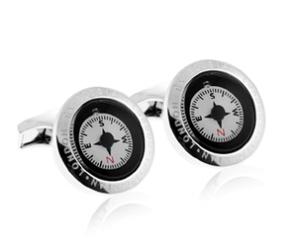 Tateossian Compass Rhodium Cufflinks